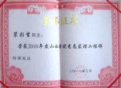 裴彩絮同志荣获2012年度优秀